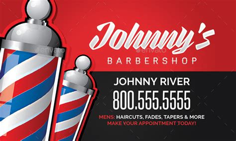 Barbershop Business Card Template By Flyerpunkz Graphicriver Free Barber Business Card Template