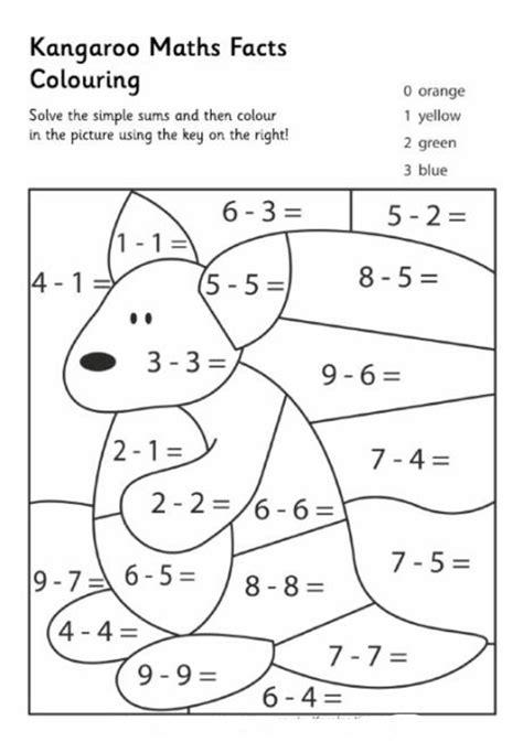 kangaroo math facts color pages math facts kangaroos math