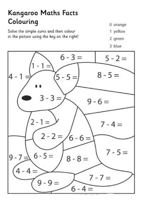 coloring pages with multiplication facts kangaroo math facts color pages pinterest math facts