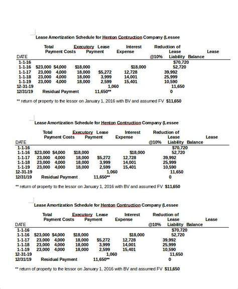 capital lease template amortization schedule template 5 free word excel