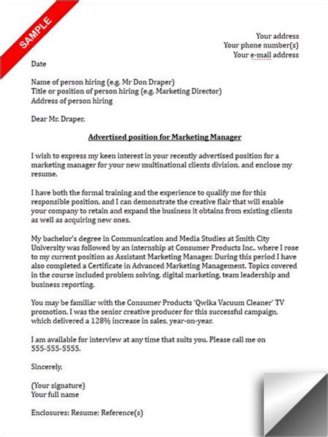 marketing manager cover letter public relations cover