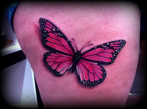 butterfly tattoo realism realistic butterfly tattoo pink by calebslabzzzgraham