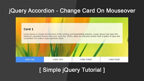 tutorial jquery accordion jquery accordion tutorial change card on mouse over