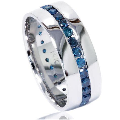 Mens Comfort Fit Wedding Bands Blue Diamond Ring Mens Blue Diamond Wedding Ring 1 25ct Blue
