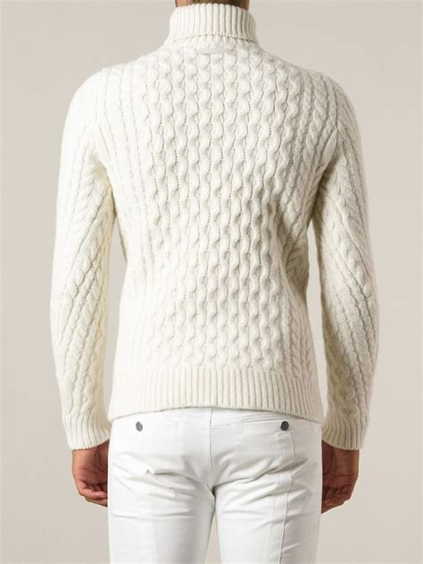 mens knit turtleneck sweater diesel cable knit turtleneck sweater in white for lyst