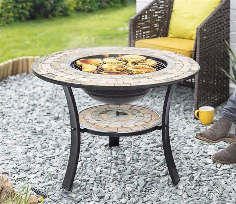 Mosaic Firepit With Bbq Grill And Table Insert Savvysurf Pit Grill Insert