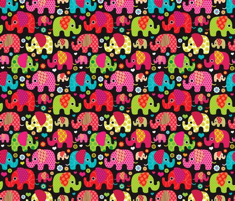 elephant pattern wallpaper colorful indian elephant parade fabric by