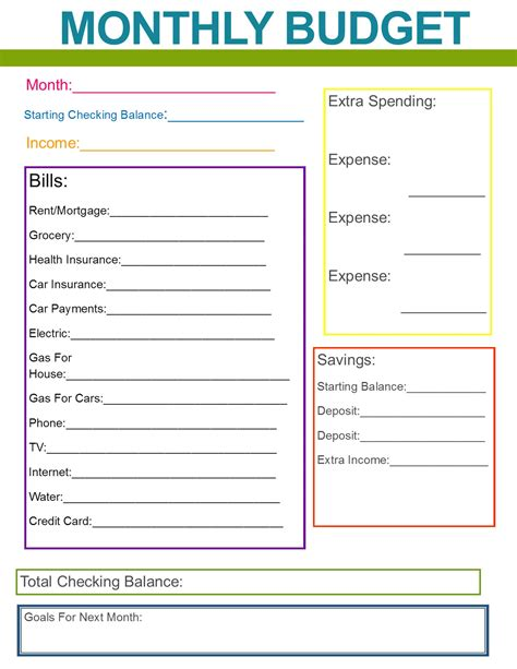 printable template budget monthly family budget great habit to start for the new