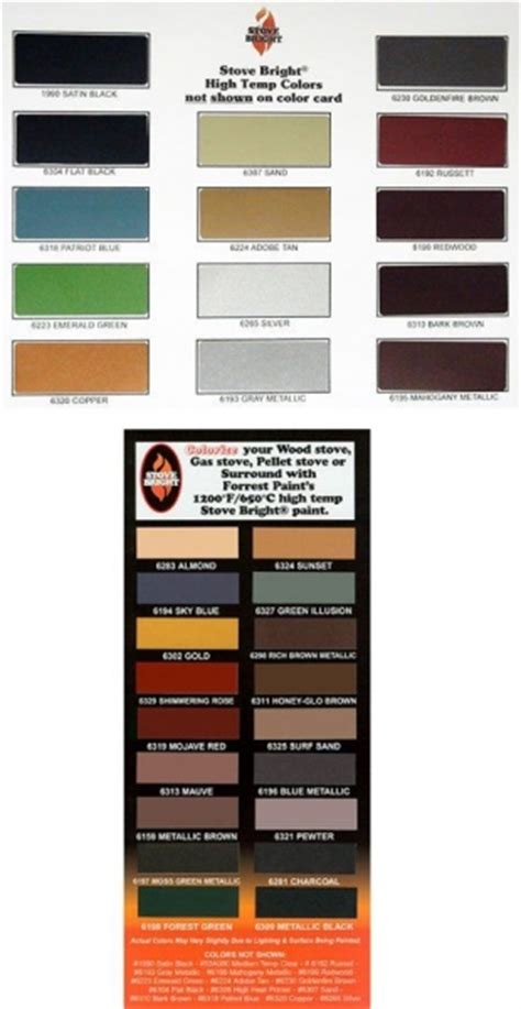 colour chart heat resistant spray paint