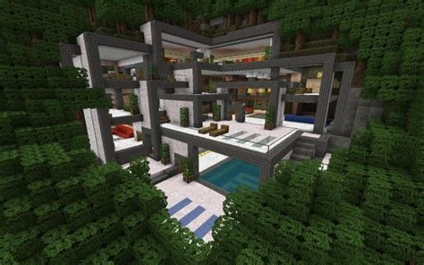 Modern Hillside Minecraft House 720x450 Jpg 720 215 450 Pixels Minecraft Mountain House Plans