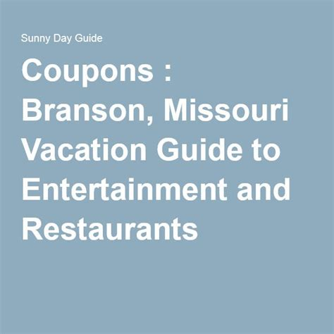 Printable Restaurant Coupons For Branson Mo | printable coupons branson missouri vacation guide to