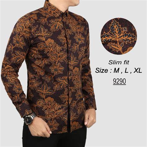Baju Kemeja Pria Lengan Pendek Batik Floral Motif Bunga Warna Hitam kemeja batik pria gradation navy panjang slimfit baju