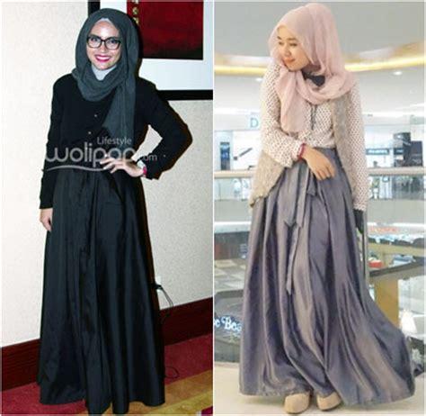 by admin tren gaya hijab dan abaya di tahun 2015 tren busana muslim hijab style til feminin dengan tren rok flare berpita