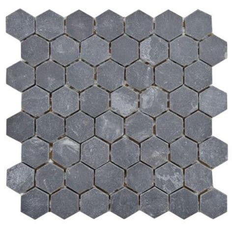 merola tile crag hexagon black 11 1 8 in x 11 1 8 in x