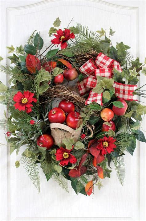 Beautiful Wreaths For Front Door Beautiful Front Door Wreath Burlap Bag Of Apples Honeysuckle Garlan