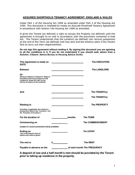 Tenancy Agreement Letter Pdf Assured Shorthold Tenancy Agreement Template Pdf