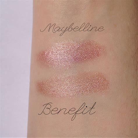 maybelline inked in pink and benefit rsvp swatches bolt