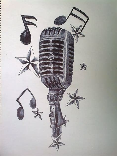 music star tattoo designs notes and microphone design by akadrowzy