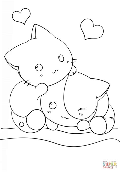 Coloring Page Kawaii by Kawaii Kittens Coloring Page Free Printable Coloring Pages