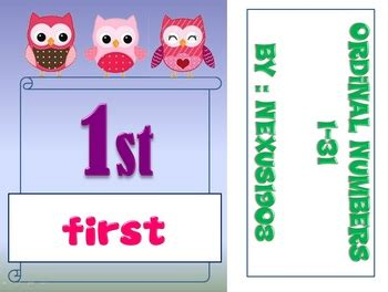 free printable ordinal number cards ordinal number cards 1 31 by nexus dee teachers pay teachers