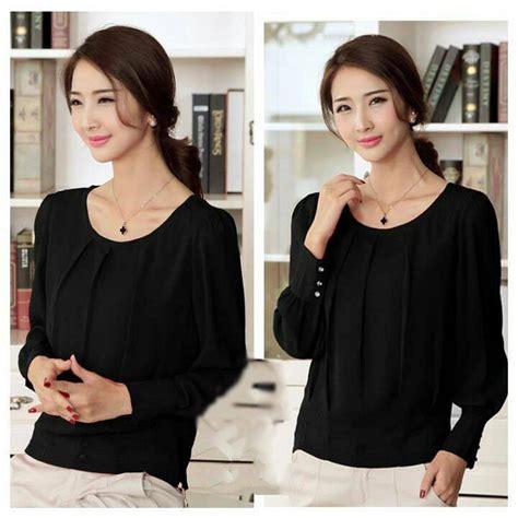 Blouse Lengan Panjang Warna Hitam Fashion Wanita Excellent Quality jual tyas blouse baju atasan lengan panjang bahan twiscone warna hitam gading fashion