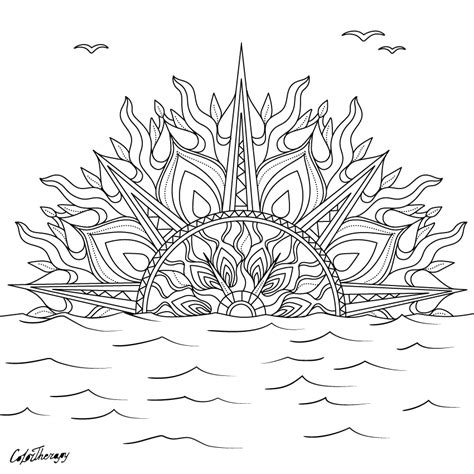 sunset coloring pages sunset solar mandala color with color therapy