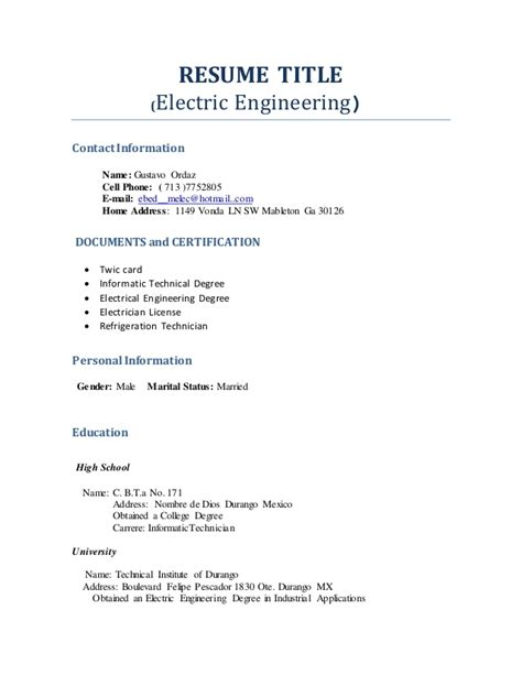 exles of resume names resume title profesional engineering