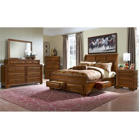 bedroom set with storage sanibelle king storage bed pine american signature