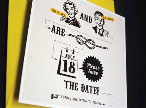 Vintage Yellow Save The Date Template Quot Tying The Knot Quot Retro 50s Style 2451239 Weddbook Vintage Save The Date Templates