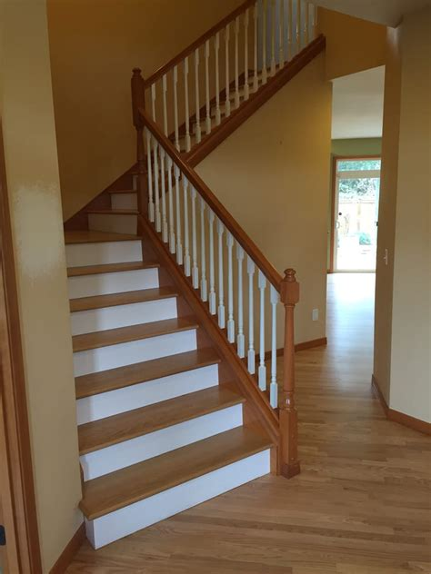 oak stairs pictures oak stairs with white risers yelp