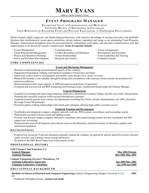 Special Events Assistant Sle Resume by Sle Resume Event Assistant Augustais