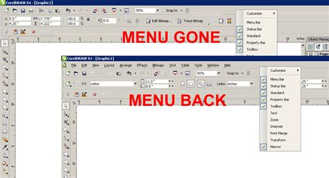 menu bar coreldraw x4 my old and comfortable corel 8 no longer shows the menu