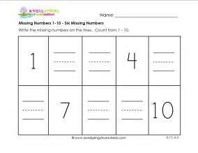 Missing numbers worksheets 1 10 fill in the missing numbers