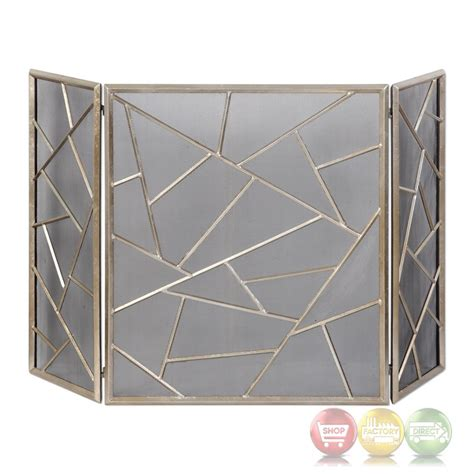 armino modern geometric patterned iron fireplace screen in
