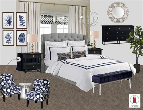 online bedroom design navy white and gray transitional master bedroom room by