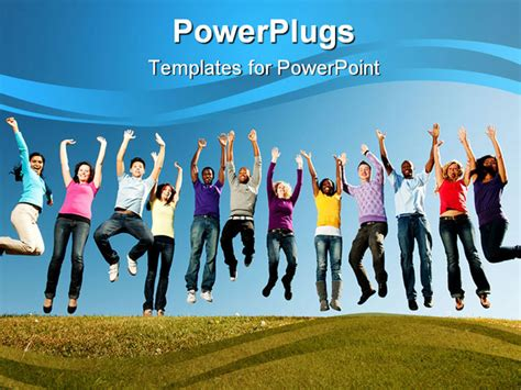 Powerpoint Template Group Of Smiling Young People Jumped Youth Powerpoint