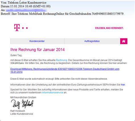 Anschreiben Rechnung Per E Mail Trojaner Warnung Telekom Rechnung F 252 R Januar 2014 Mimikama