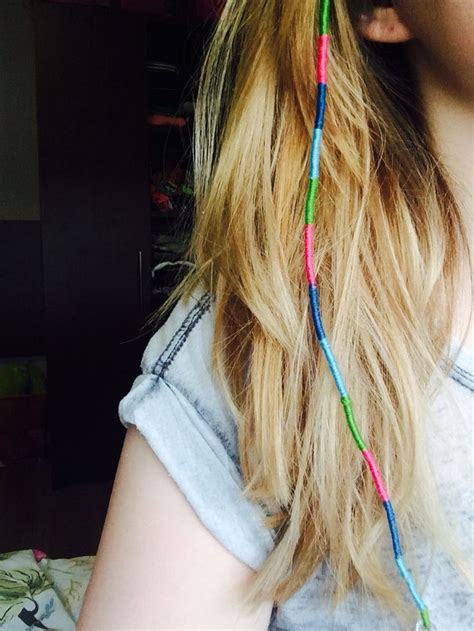 pictures of a hair wrap diy pink green and blue string hair wrap blonde
