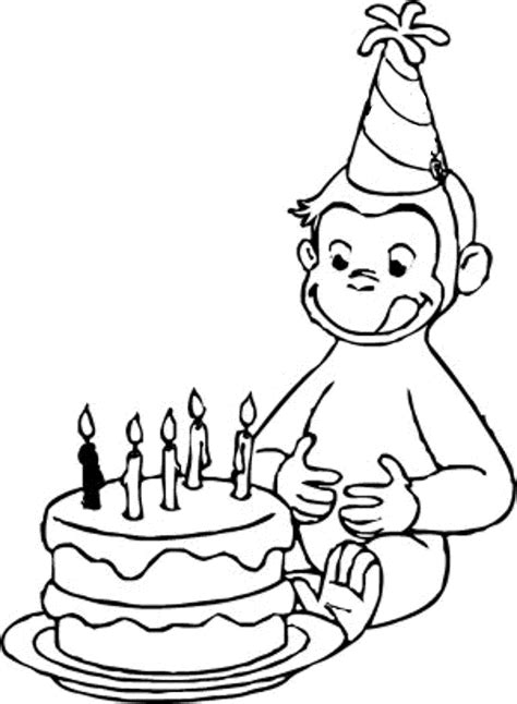 Happy Birthday Curious George Coloring Pages | curious george happy birthday coloring pages