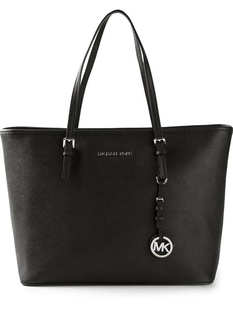 michael michael kors black jet set travel tote lyst