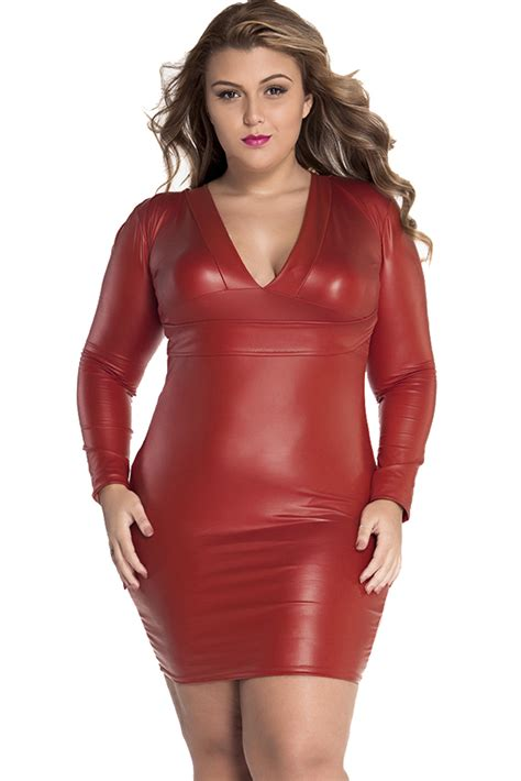 Wholesale red plunging v neck long sleeve leather dress