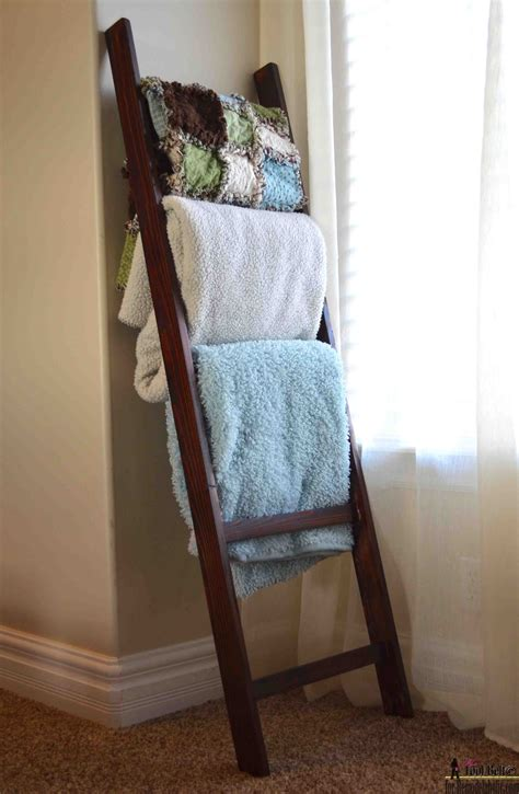 blanket storage ideas that look great for every room in remodelaholic build an easy blanket ladder for just 5