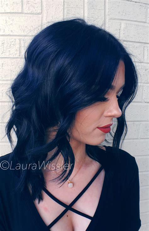 black hair colors midnight blue black hair color textured lob instagram