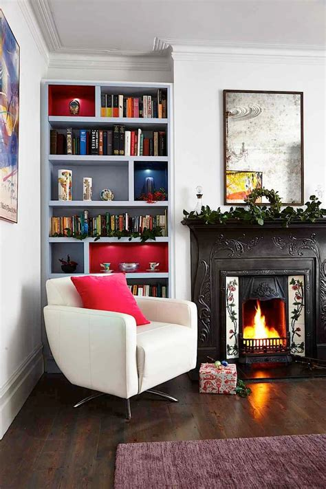 bookshelves next fireplace with media storage living room
