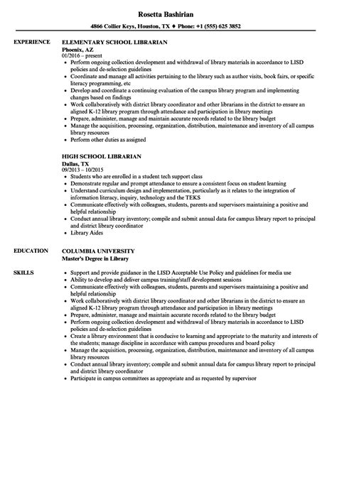 High School Librarian Resume school librarian resume sles velvet