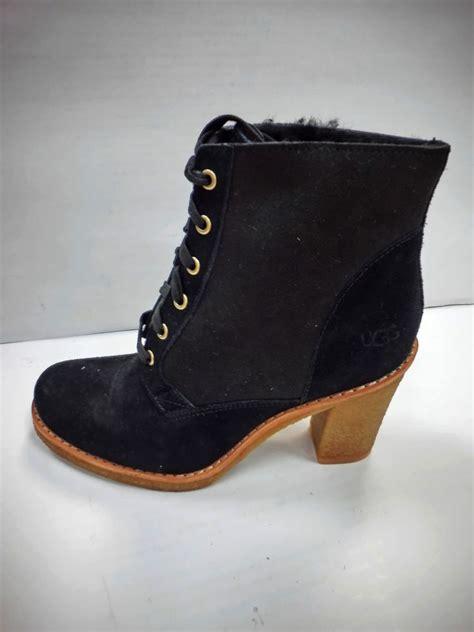 Last 1 Pair St Original Heels ugg australia s high heel boots sofia black suede lace up last pair ebay