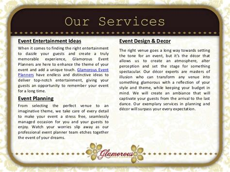 Wedding Planning Companies by Glamorous Event Planners Company Profile