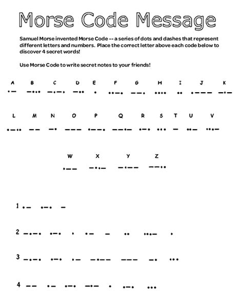 secret message worksheet solve the messages by placing the letter above each code