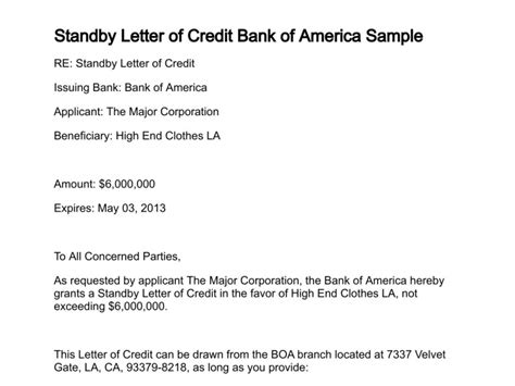 Letter Of Credit From Bank Of America Standby Letter Of Credit