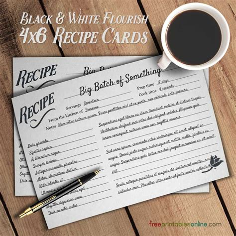 recipe card template you can type on flourish black and white simple recipe cards free